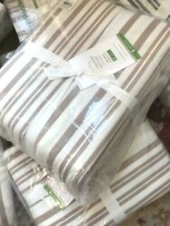 Pottery Barn Antique Style Striped Duvet Cover Taupe Queen 2 Standard Shams Set
