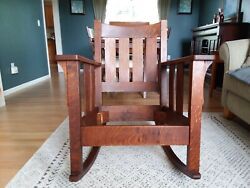 Mission Antique Tiger Oak Rocking Chair Unmarked Possibly Stickley Bros