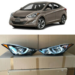 Headlight Replacement For 2014 2015 2016 Hyundai Elantra Left Right 2pc W Bulbs