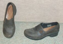 Womenand039s Keen Brown Leather Upper Mora Button Clog Slip On Shoes Size 7