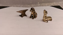 Vintage Sea Lion Dog Anvil Brass Paperweight Lot Of 3 Seal Puppy Cast Nice