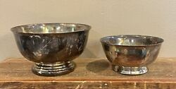 """Vintage Gorham Silver Original 5"""" And Paul Revere Reproduction 3"""" Candy Bowls"""