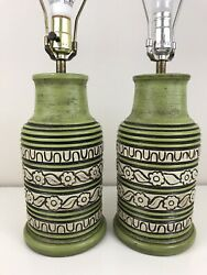 Vintage 60's 70's Green Lamp Set By House Of Lamps Flower Power