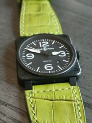 Bell And Ross Br03-92 S Full Set W/ Bonus Strap And Buckle Black Pvd 95+ Pow