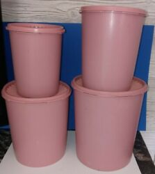 Vintage Tupperware Mauve Dusty Rose4 Piece Canister Set Very Good Condition