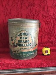 Early Honey Dew Pure Lard Tin Can - Sieloff Packing Co St Louis - Good Graphics