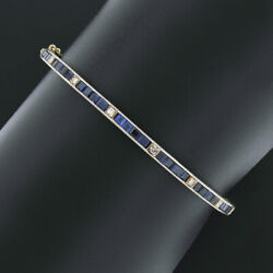 Antique 14k Gold And Silver Sapphire Diamond Hand Engraved Hinged Bangle Bracelet