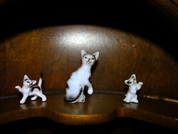 Vintage Trio Of Black And White Kitty Cat Figurines 50 Year Old Knick Knacks