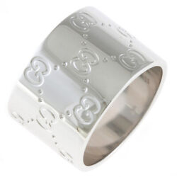 Ring Silver 18k K18 White Gold Icon Wide From Japan Used