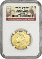 2013-w Ida Mckinley 10 Ngc Ms70 Early Releases - First Spouse .999 Gold