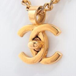 Coco Mark Turn Lock 96p Necklace Gold Plated Gold