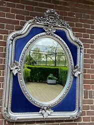 French Louis Xvi Style Silver And Blue Velvet Mirror - Custom Made