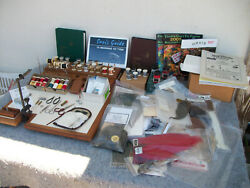 Huge Vintage Lot Fly Fishing Materials Vise / Feathers / Orvis Books And More
