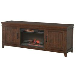 Tv Stand With 2 Cabinets And Electric Fireplace, Dark Brown, Saltoro Sherpi