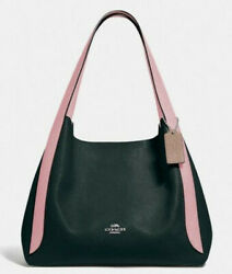 NWT COACH 76088 Hadley Leather Hobo Black Pink $395 Msrp $174.95