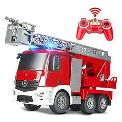 Rescue Remote Control Fire Truck Shoots Water Extendable 18 Inch Ladder 10 Red