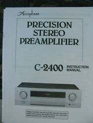 Accuphase Precision Stereo Preamplifier C-2400 Instruction Manual