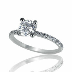 1 1/4 Carat D Si1 Affordable Diamond Engagement Ring Round Cut 14k White Gold