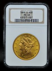 1895-s Ngc Ms63 20 Gold Liberty Double Eagle [051dud]