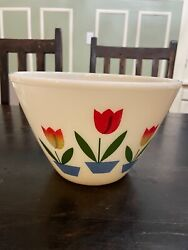 Fire King Oven Ware White Milk Glass Mixing Bowl Tulip Pattern 9.5 Vintage