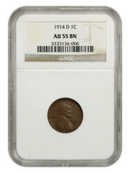 1914-d 1c Ngc Au55 Bn - Key Date - Lincoln Cent - Key Date
