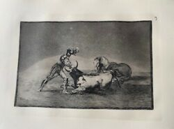 Engraved No 9 Of The Bullfighting Of Goya. And A Gentleman Spanish Kills A Bull And