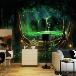3d Enchanted Forest Waterfall Wall Mural Wallpaper Living Room Lounge Bedroom