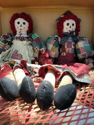 Primitive Pair Of Raggedy Ann And Andy Rag Doll 22 Cloth Dolls Rustic Country
