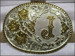 Quality Vintage Letter J Crumrine Heavy Silver Plate Usa Made Belt Buckle