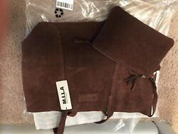 MILA brown Suede Bag With Matching Pouch $130.00