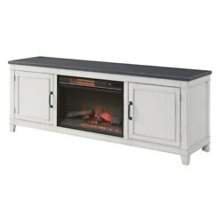 Saltoro Sherpi 70 Inch Wooden Tv Stand With Electric Fireplace, Gray And Antique