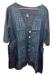 Blue Fish Heavy 100 Linen Lagenlook Tunic Size 0 Chambray With Pink Tones