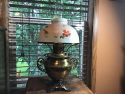 Antique Miller Juno Brass Trophy Pedestal Oil Lamp With Hand Painted Shade