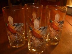 Vintage Set Of Four Pheasant Glasses And Large Pitcher