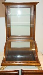 Antique Oak Curved Glass Table Top Counter Top Showcase----15621