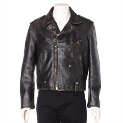 Shot X St. Michael Leather Riders Jacket 1 Menand039s Black Vintage Processing