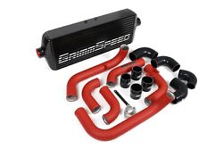 Grimmspeed Black Front Mount Intercooler Kit For 2008-2014 Subaru Wrx Red Piping