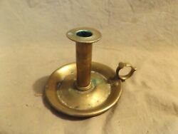 Primitive Antique 19th C Lighting Turned Brass Weighted Push Up Chamberstick 4