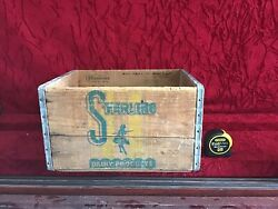 Sterling Dairy Products Antique Wooden Milk Box Crate Cool Graphics