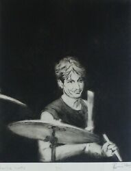 Ronnie Wood Charlie Watts Hand Signed Rolling Stones Drypoint Etching 1988