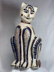 """Vintage 12.5"""" Signed Tonala Pottery Cat Anthropomorphic Statue Mexican"""