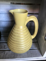 Mid Century Modern Yellow Beehive Pottery Pitcher C Miller 1957 Carafe Mint