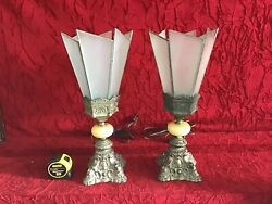 Incredible Pair Antique Lamps Leaded Glass Shades - Lovely Design Wow 🔥🔥
