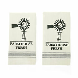 Farmhouse Kitchen Or Bathroom Cotton Hand Towels - Set Of 2