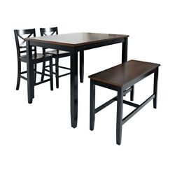 4 Piece Counter Height Set With X Back Stools, Brown And Black ,saltoro Sherpi