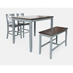 4 Piece Counter Height Set With X Back Stools, Brown And Gray ,saltoro Sherpi