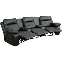 Real Comfort Series 3-seat Reclining Black Theater Seating Unit W/curved Cup