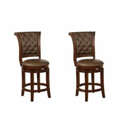 Counter Stool With Leatherette Rolled Button Tufted Back, Set Of 2, Brown,
