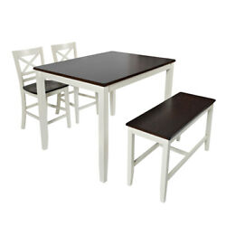 4 Piece Counter Height Set With X Back Stools, Brown And White ,saltoro Sherpi