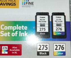Genuine Canon Pg-275 Black/cl-276 Color Ink Cartridges Combo Fast Shipping
